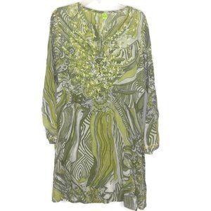 Raj Green Embroidered Batik Tunic Dress